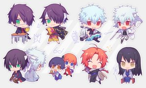 Rating: Safe Score: 14 Tags: bandage black_hair blue_eyes book brown_eyes chibi chinese_clothes chinese_dress eyepatch gintama glasses gray_hair green_eyes headband heiwa_(murasiho) japanese_clothes kagura_(gintama) kamui_(gintama) katana katsura_kotarou long_hair male motorcycle orange_hair red_eyes sakata_gintoki shimura_shinpachi sword tagme_(character) umbrella waifu2x weapon User: otaku_emmy