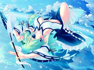 Rating: Questionable Score: 222 Tags: blue_eyes breasts cleavage clouds green_hair hinasaki japanese_clothes kochiya_sanae long_hair miko open_shirt ribbons sky touhou User: rayrei