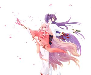 Rating: Safe Score: 58 Tags: animal_ears blue_hair cherry_blossoms japanese_clothes kamui_gakupo megurine_luka otome_youkai_zakuro pink_hair vocaloid User: AliceWonderWorld