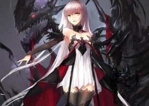 Rating: Safe Score: 264 Tags: armor collar cropped dragon dress long_hair pixiv_fantasia swd3e2 thighhighs white_hair yellow_eyes zettai_ryouiki User: luckyluna