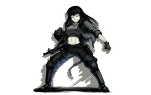 Rating: Safe Score: 55 Tags: armor black_hair boots gloves gray_eyes hellshock long_hair original weapon User: TommyGunn