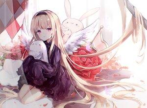 Rating: Safe Score: 62 Tags: angel brown_hair bunny dress flowers headband long_hair miyu_(miy_u1308) original purple_eyes rose wings User: BattlequeenYume