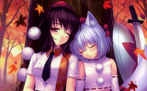 Rating: Safe Score: 108 Tags: 2girls animal_ears autumn brown_eyes brown_hair hat inubashiri_momiji katana leaves sayori shameimaru_aya short_hair sleeping sword tie touhou weapon white_hair wink wolfgirl User: Katsumi