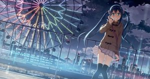 Rating: Safe Score: 149 Tags: blue_hair blush building city clouds kantoku long_hair night original scan skirt sky thighhighs twintails User: luckyluna