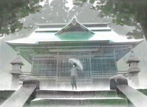 Rating: Safe Score: 55 Tags: black_hair gensuke original rain scarf short_hair shrine skirt stairs umbrella water User: RyuZU