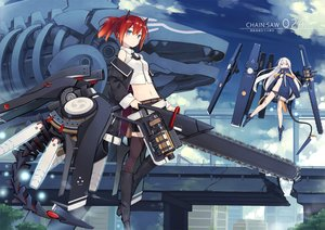 Rating: Safe Score: 20 Tags: 2girls bikini blue_eyes chainsaw clouds horns long_hair mechagirl navel original poco ponytail purple_eyes red_hair short_hair sky swimsuit sword thighhighs weapon white_hair User: SciFi