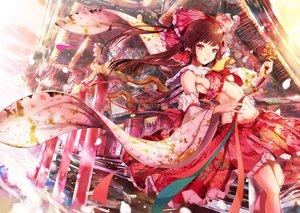 Rating: Safe Score: 49 Tags: bell bow breasts brown_hair building cherry_blossoms hakurei_reimu japanese_clothes long_hair mayonaka_taruho miko red_eyes ribbons shrine touhou User: BattlequeenYume