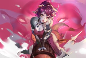Rating: Safe Score: 153 Tags: anthropomorphism breasts cleavage fang goggles league_of_legends necklace orange_eyes pointed_ears ponytail purple_hair rabbit_(tukenitian) tristana yordle User: Flandre93