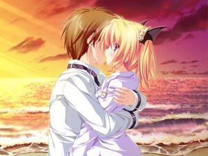 Rating: Safe Score: 44 Tags: beach blonde_hair blush clouds game_cg hug kiss magus_tale nina_geminis red_eyes school_uniform sky tenmaso whirlpool User: Oyashiro-sama