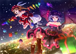 Rating: Safe Score: 68 Tags: 2girls blonde_hair blue_hair boots christmas dress elbow_gloves fang flandre_scarlet gloves hat night nora_(le-chat-noir) orange_eyes pink_eyes ponytail red_eyes remilia_scarlet santa_costume short_hair snow touhou vampire wings User: C4R10Z123GT