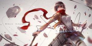 Rating: Safe Score: 237 Tags: black_hair brown_eyes mikasa_ackerman petals scarf shingeki_no_kyojin sword tpip_(aixuan) uniform weapon User: FormX