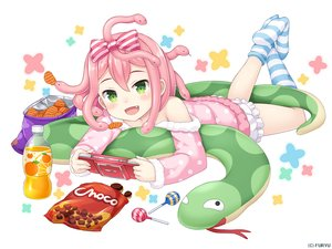 Rating: Safe Score: 19 Tags: animal bloomers bow candy chocolate drink fang food game_console green_eyes kneehighs loli lollipop monmusu_harem namaru_(summer_dandy) pajamas pink_hair short_hair snake socks User: otaku_emmy