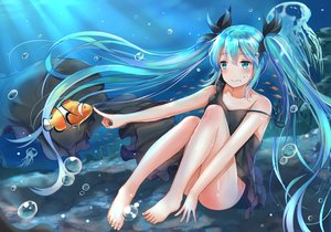 Rating: Safe Score: 87 Tags: animal aqua_eyes aqua_hair barefoot blush bubbles deep-sea_girl_(vocaloid) dress fish hatsune_miku long_hair tailam twintails underwater vocaloid water User: Flandre93