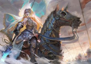 Rating: Safe Score: 96 Tags: animal armor blonde_hair blue_eyes fate/grand_order fate_(series) gloves headdress horse jeanne_d'arc_(fate) long_hair qmo_(chalsoma) signed spear weapon User: luckyluna
