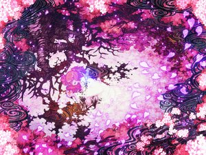 Rating: Safe Score: 45 Tags: butterfly japanese_clothes pink_hair saigyouji_yuyuko touhou tree zounose User: PAIIS