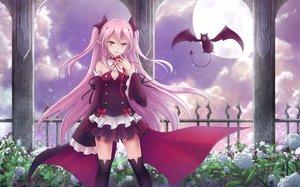 Rating: Safe Score: 222 Tags: animal asakurashinji bat cape collar fang flowers krul_tepes moon night owari_no_seraph pink_hair pointed_ears thighhighs vampire User: Flandre93