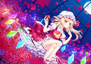 Rating: Safe Score: 53 Tags: apple atatos blonde_hair bloomers dress flandre_scarlet flowers food fruit hat moon night pointed_ears red_eyes rose short_hair signed sky stars touhou vampire wings User: BattlequeenYume