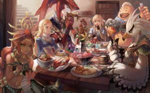 Rating: Safe Score: 44 Tags: animal apple bird blonde_hair braids cake dark_skin drink fish flowers food fruit gloves green_eyes group headdress link_(zelda) long_hair male navel pointed_ears princess_zelda red_hair riju sidon skirt sword syn_(kuponutt) teba the_legend_of_zelda weapon wolf wristwear yellow_eyes yunobo User: otaku_emmy