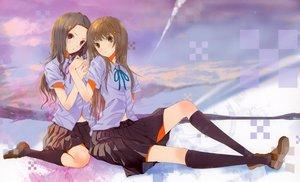 Rating: Safe Score: 152 Tags: 2girls alice brown_hair clara claris fuyuno_haruaki school_uniform skirt User: Wiresetc