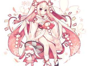 Rating: Safe Score: 60 Tags: bunny cherry_blossoms cropped flowers hoodie japanese_clothes loli long_hair miko original pink polychromatic red_eyes socks umbrella utm waifu2x white white_hair User: otaku_emmy
