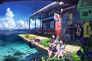 Rating: Safe Score: 190 Tags: animal animal_ears barefoot bicycle black_hair blue_eyes book braids brown_hair butterfly catgirl clouds coca_cola dress fan fish flowers food glasses grass group landscape long_hair namamizu000 original popsicle purple_hair scenic seifuku short_hair skirt sleeping tail translation_request water User: SciFi