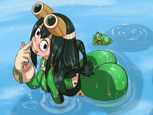 Rating: Questionable Score: 71 Tags: animal ass asui_tsuyu black_eyes bodysuit boku_no_hero_academia breasts frog gloves goggles green_hair kibazoku leaves long_hair skintight water wet User: otaku_emmy