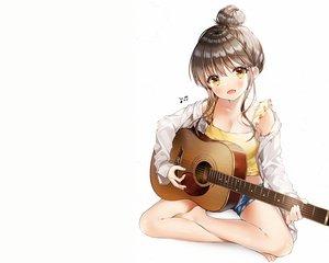 Rating: Safe Score: 70 Tags: breasts brown_hair cleavage guitar instrument music open_shirt original shirt shorts weri white yellow_eyes User: mattiasc02