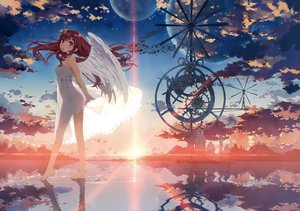 Rating: Safe Score: 152 Tags: angel barefoot clouds dress kantoku long_hair original pink_eyes planet red_hair reflection scan see_through sky sunset water wings User: RyuZU