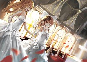 Rating: Safe Score: 147 Tags: 2girls bow elbow_gloves ghostas gloves hakurei_reimu kirisame_marisa petals shoujo_ai touhou wedding wedding_attire User: FormX