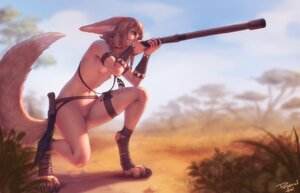 Rating: Explicit Score: 125 Tags: animal_ears flat_chest foxgirl khiara_(personal_ami) navel nipples nude original personal_ami pussy short_hair signed tail uncensored weapon User: SciFi