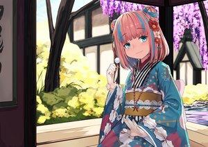 Rating: Safe Score: 40 Tags: aqua_eyes flowers gloves japanese_clothes kanau_channel kimono loli natori_youkai necklace pink_hair short_hair water yumekawa_kanau User: あかり