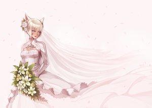 Rating: Safe Score: 34 Tags: animal_ears catgirl final_fantasy final_fantasy_xiv flowers gloves gray_eyes haimerejzero miqo'te petals short_hair wedding_attire white_hair y'shtola User: SciFi