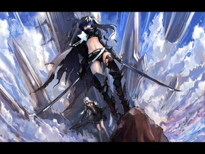Rating: Safe Score: 153 Tags: black_hair black_rock_shooter blueman katana kuroi_mato sword weapon User: HawthorneKitty