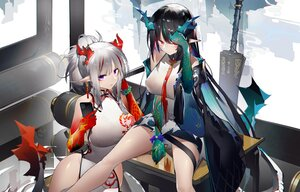 Rating: Safe Score: 51 Tags: 2girls arknights chinese_clothes chinese_dress dress dusk_(arknights) gray_hair horns long_hair nian_(arknights) phone pointed_ears ponytail red_eyes tail yushi_ketsalkoatl User: BattlequeenYume