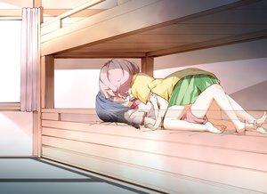 Rating: Questionable Score: 177 Tags: 2girls barefoot bed blush furutani_himawari kamiki_uutarou kiss shorts skirt yoshikawa_chinatsu yuri yuru_yuri User: Flandre93