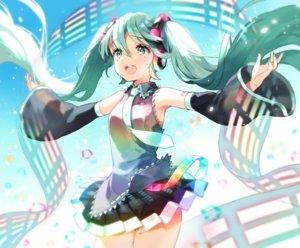 Rating: Safe Score: 29 Tags: anco_(melon85) green_eyes green_hair hatsune_miku headphones long_hair skirt tie twintails vocaloid User: RyuZU
