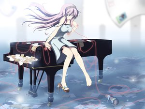 Rating: Safe Score: 193 Tags: dress instrument long_hair megurine_luka piano purple_hair vocaloid water yuzuki_kei User: HawthorneKitty
