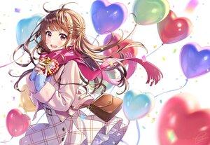 Rating: Safe Score: 72 Tags: blush brown_eyes brown_hair long_hair morikura_en original scarf signed skirt User: BattlequeenYume