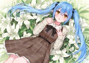 Rating: Safe Score: 85 Tags: aqua_hair blush bow dress flowers hololive kanoe_(tatsukanoe) leaves long_hair necklace pointed_ears twintails yellow_eyes yukihana_lamy User: otaku_emmy