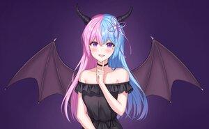 Rating: Safe Score: 37 Tags: blush demon gradient horns long_hair original purple purple_eyes sarin_(seoling) wings User: otaku_emmy