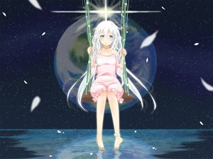 Rating: Safe Score: 135 Tags: barefoot earth ia jpeg_artifacts nokko planet stars vocaloid water User: FormX