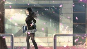 Rating: Safe Score: 76 Tags: black_eyes black_hair kikivi long_hair original pantyhose petals school_uniform skirt User: RyuZU