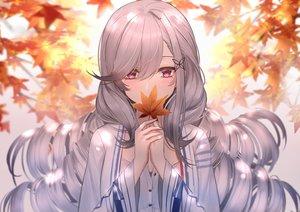 Rating: Safe Score: 108 Tags: anthropomorphism autumn azur_lane blush close dunkerque_(azur_lane) eternity_(pixiv8012826) gray_hair leaves long_hair pink_eyes User: BattlequeenYume