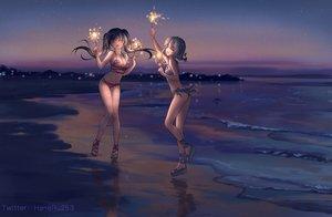 Rating: Safe Score: 88 Tags: 2girls beach bikini black_hair breasts cleavage fireworks gray_hair haneru original scenic short_hair sunset swimsuit twintails water watermark User: Fepple