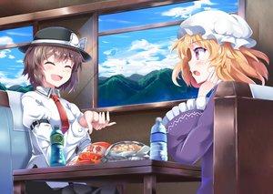 Rating: Safe Score: 82 Tags: 2girls drink e.o. food hat jpeg_artifacts maribel_han scenic shirt tie touhou train usami_renko User: Flandre93