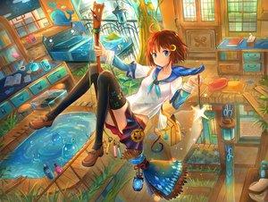 Rating: Safe Score: 20 Tags: bed blue_eyes book brown_hair food grass kutsunohito magic original seifuku short_hair skirt thighhighs wand water witch User: otaku_emmy