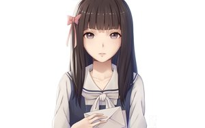 Rating: Safe Score: 78 Tags: bow brown_hair fumino_aya long_hair miura_naoko root_letter school_uniform white User: RyuZU