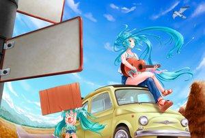 Rating: Safe Score: 67 Tags: animal bird blue_hair car green_eyes guitar hachune_miku hatsune_miku instrument long_hair sky tsukineko twintails vocaloid User: FormX