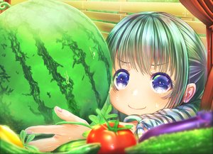 Rating: Safe Score: 30 Tags: blue_eyes close food fruit green_hair loli original tagme_(artist) watermelon User: RyuZU