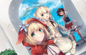 Rating: Safe Score: 40 Tags: 83fake alice_in_wonderland alice_(wonderland) apron aqua_eyes black_hair blonde_hair blush brown_eyes cape clouds crossover dress gloves green_eyes hat hoodie little_red_riding_hood red_riding_hood short_hair sky snow_white snow_white_and_the_seven_dwarfs watermark User: RyuZU